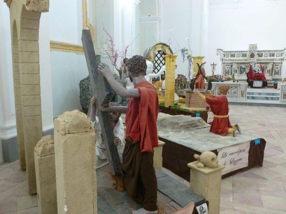 I den gamla kyrkan i Procida hade man en utställning som levandegjorde bibliska händelser