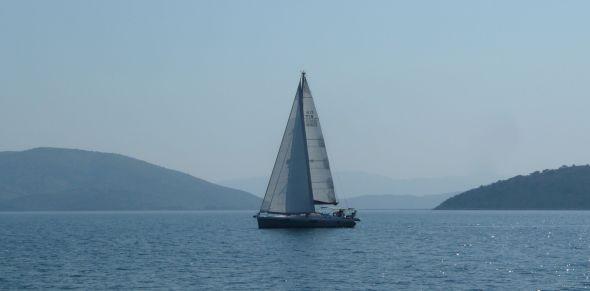 Ayfer för fulla segel - en ovanlig syn! Foto: Håkan