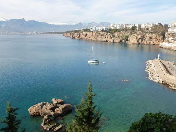 Utsikt från gamla stan i Antalya